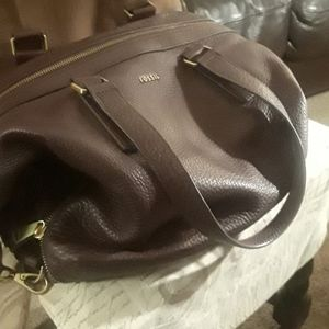 Brown ,pebbled leather Fossil satchel